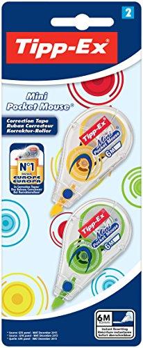 Tipp-Ex Korrekturroller Mini Pocket Mouse Fashion, 5 mm x 5 m, Blister a 2 Stück, 4-fach sortiert