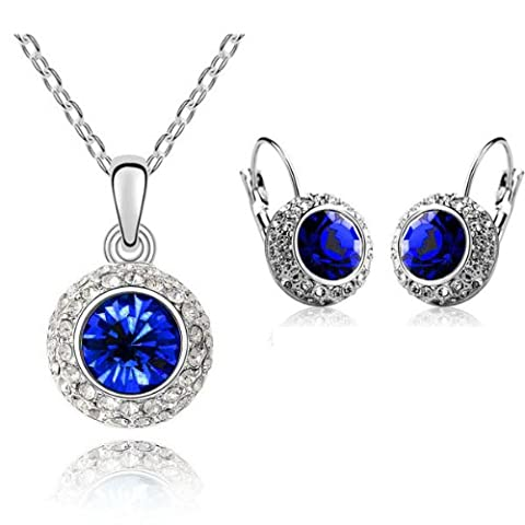 Something Blue for Wedding Sapphire / Royal Blue Jewellery Set Circle Earrings & Necklace with Pendant