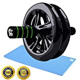 Dual Ab Roller Exercise Wheel & Thick Knee Pad The Perfect Fitness Exerciser – Portable Abdominal Workout Equipment with Soft Foam Handles - Great Core Exerciser For Men and Women - Home Gym Set | Life Time Warranty