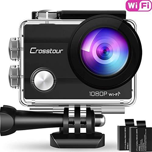 Crosstour Caméra Sport 1080P Full HD Wi-FI Étanche 30M 12MP 170 °Grand-Angle 2 Pouces LCD avec 2...