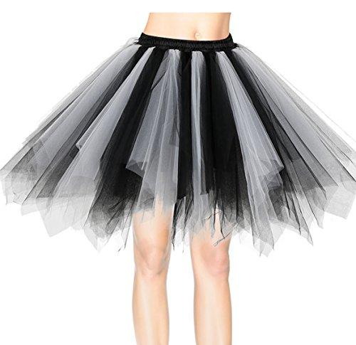 Dresstells Damen Tutu Unterkleid Kurz Ballett Tanzkleid Ballklei Abendkleid Gelegenheit Zubehör Black-white L