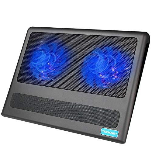 TECKNET Laptop Kühler, Cooling Pad 12-16 Zoll Externe Kühlung Lüfter Pad mit 2 Leise Fans, 2 USB Port und LEDs