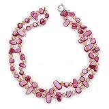 Zwei Zeile Fuchsia Shell Nugget und nude-coloured Glas Kristall Bead Halskette–44cm L