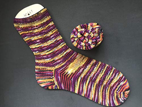 Socken handgestrickt Größe 40/41 bunt gelb/rot/magenta/schwarz