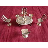 SAARTHI Antique Traditional Rajasthani Unique Elegant Miniature Brass Maharaja Dining Table Chair Set (Golden) - Pack Of 10