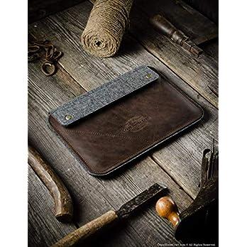 iPad Pro 12.9 inch, iPad 10.2 Ledertasche | Wood Brown iPad Pro 11 Zoll Hülle 100% Wollfilz, Apfel stift, Vintage Crazy…