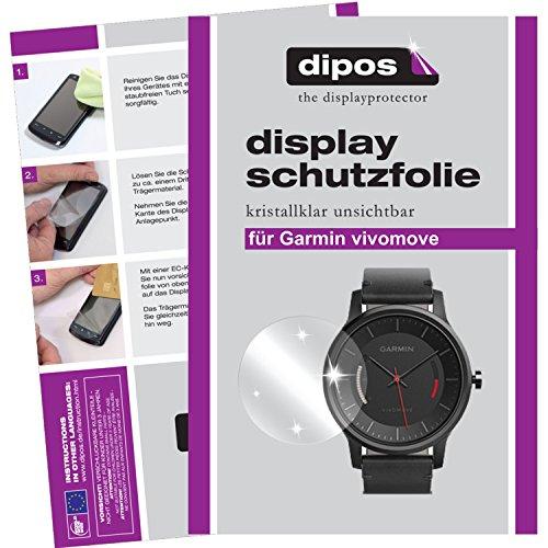 dipos I 2X Schutzfolie klar passend für Garmin vivomove Folie Bildschirmschutzfolie