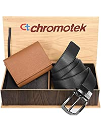 Chromotek Men's Formal PU-Leather Belt & Wallet (Black & Brown ) Combo Gift Pack