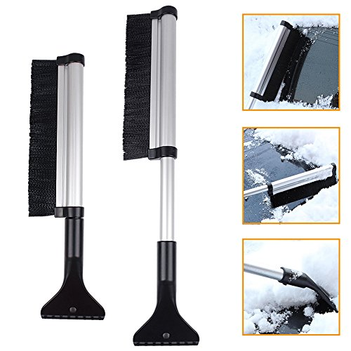 Winter Ice Scraper, ANGTUO Extendable Snow Brush Ice Scraper Car Ice Remover for Windshield Glass Scrape Frost and Ice - Good Tool for Snow Removal