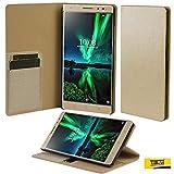 #10: Taslar(TM) Lenovo Phab 2 Plus Flip Case, Crazy Horse Series, Stand View Wallet Feature Flip Back Cover Case For Lenovo Phab 2 Plus - Gold