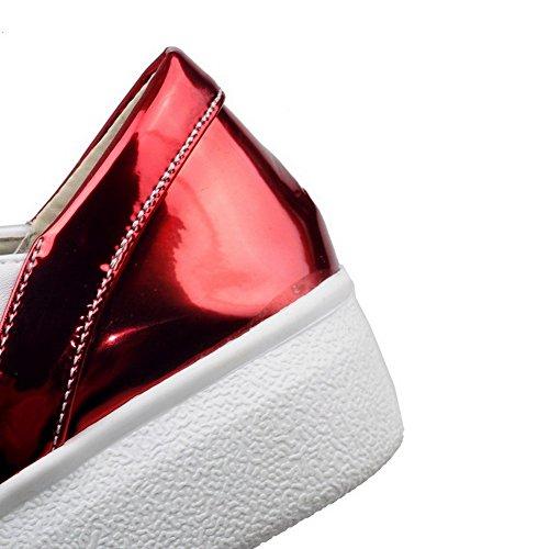 VogueZone009 Femme Pu Cuir à Talon Bas Rond Couleurs Mélangées Lacet Chaussures Légeres Rouge