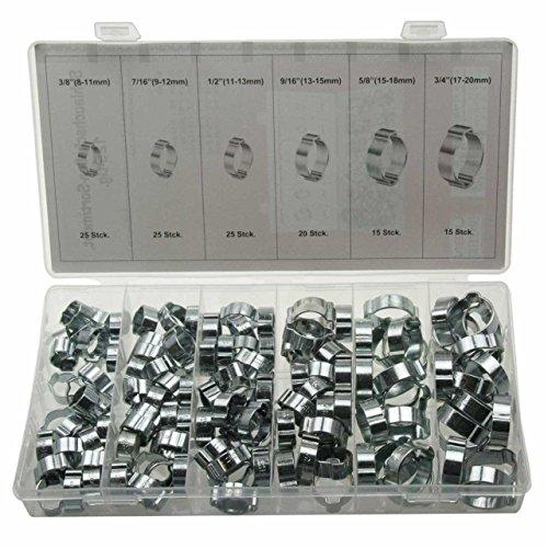 125 x Universal 2 Ohr Schlauchschellen/Klemmschelle/Leitungsschelle Schlauchklemmen-Sortiment (2-Ohr-Klemmen) 8-20 mm (im Aufbewahrungsbox/Sortimentsbox)