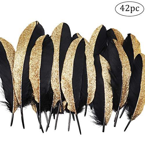Coucoland Party Dekoration Federn 42 Stück Gold/Silber 1920s Gatsby Deko Geburtstagsparty Deko Kinder Bastelarbeit Halloween Fasching Kostüm Accessoires (Schwarz Gold) (1920 Kind Halloween Kostüme)