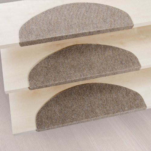 casa pura Stair Tread Mats Leipzig, Beige, 15 Piece Set (23 x 65 cm) - Multiple Colours | Durable, Non-slip, Protection