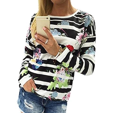 Blusas Y Camisas Oyedens Las Mujeres Floral Rayado De Impresión Con Capucha De Manga Larga Blusa Suelta