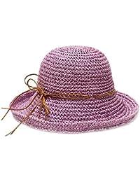 Damas Hombres Sombrero Paja Sombrero para El Sol Warme Sombrero Playa  Sombrero Pesca Sombrero ala Rizo 720f4a934fe