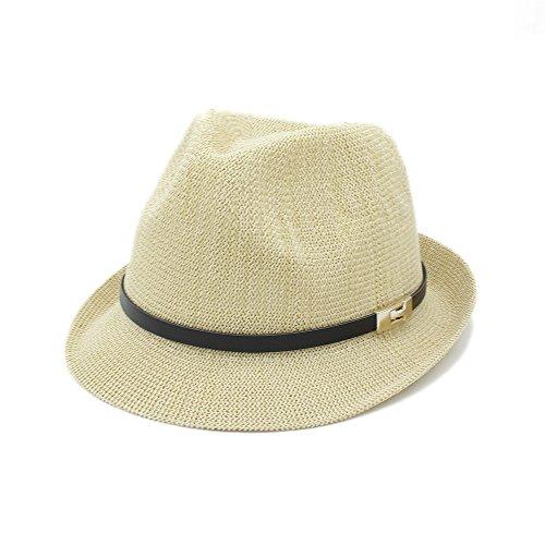 FeiNianJSh Femmes Hommes Casual Summer Sun Hat pour Gentleman Lettre Papa Boater Fedora Chapeaux Papa Plat Homburg Plage Chapeau Panama Cap avec Ceint
