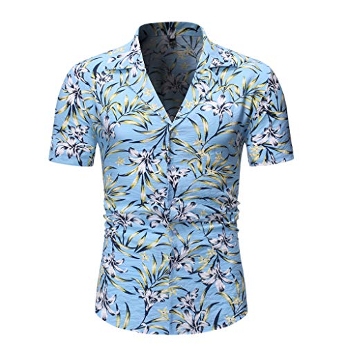 Top Camicetta Moda Casual Button Hawaii Print Beach Manica Corta Quick Dry Men (L,Blu)