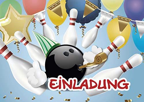Kreatives Herz Bowling Einladungskarten zum Kindergeburtstag (10er Set) für Mädchen und Jungen Bunte Einladungen A6 Kinder Party Kindereinladungen (10 Karten) (10 Karten)