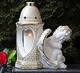 ♥ Grablaterne Grablampe Engel Herz Massiv 30,0cm Weiss Bronze incl. Grablicht Grabkerze Grabschmuck Grabdekoration Grablicht Laterne Lampe Kerze Schutzengel