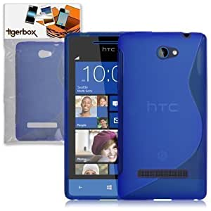 Tigerbox S-Line Hydro Gel Skin Case Cover For HTC Windows Phone 8S With Screen Protector - Blue