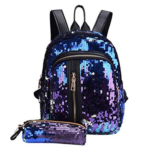 Trada Schultasche, Damenmode Mädchen Pailletten Schultasche Rucksack Reise Umhängetasche + Clutch Wallet Bling Kupplung Handtasche Schultertasche Schulrucksäcke Rucksack (Blau)