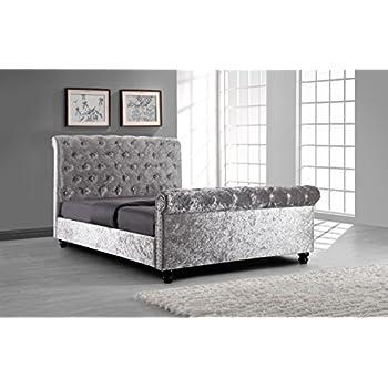 silver crushed velvet upholstered sleigh bed frame with diamond buttons 5ft kingsize - Velvet Bed Frame