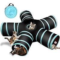 YAMI Túnel De 5 Vías para Gatos, Tubo Plegable para túnel de Mascotas con Bolsa de Almacenamiento para Gatos, Cachorros, Conejos, Conejillos de Indias, Uso en Interiores y Exteriores
