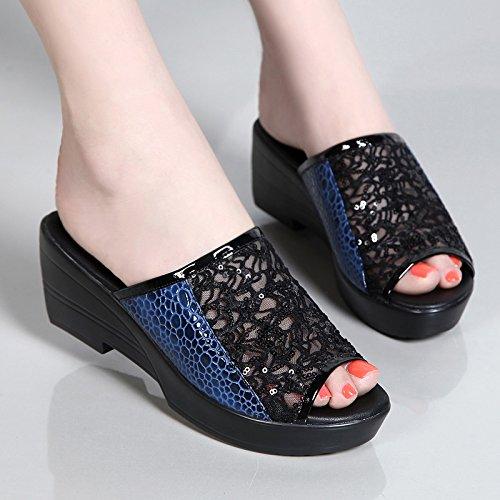 ZPPZZP Ms sandali pantofole Bold e traspirante con garza 40EU blu 40EU