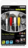 Xtreme 50605 3.5mm Composite A/V - Data Cable - Retail Packaging - White, Red and Yellow