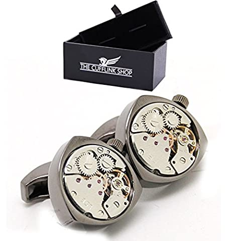 Men's Sophisticated Retro Luxury Steampunk Gunmetal Triangle Watch Movement Cufflinks With Luxury Gift
