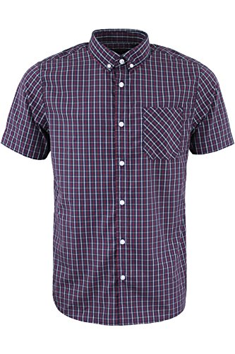 Brave Soul Herren Freizeit-Hemd Navy Blue | Red Check