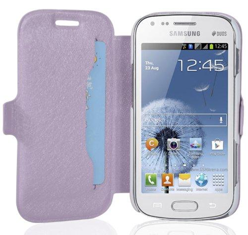 Cadorabo - Ultra Slim Book Style Hülle für Samsung Galaxy S DUOS (GT-S7562) mit Kartenfach und Standfunktion - Etui Case Cover in ICY-FLIEDER
