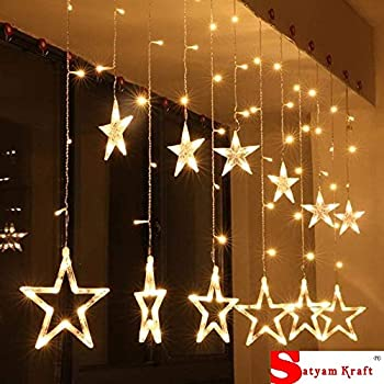 SATYAM KRAFT Star Light Curtain for Decoration (Yellow) (1 PCS Yellow Color) / Decorative Lights for Home/Lights for Decoration/Decoration Items Valentine Gift