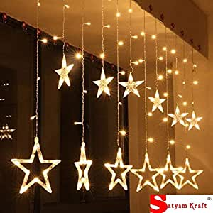 SATYAM KRAFT Star Light Curtain for Decoration (Yellow) (6 PCS Yellow  Color) / Decorative Lights for Home/Lights for Decoration/Decoration Items