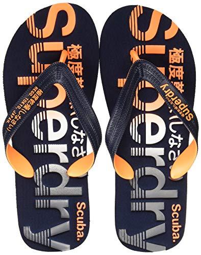 Superdry Scuba Grit Flip Flop, Infradito Uomo, Multicolore (Dark Navy/Fluro Orange/Charcoa W2x), 39-41 EU