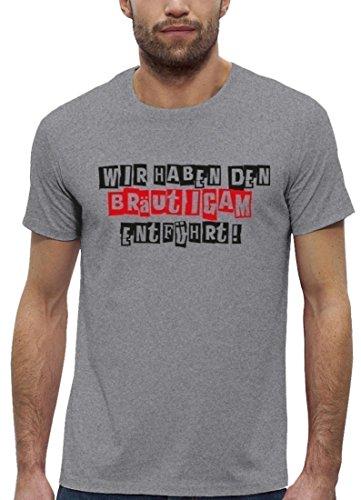 Premium Herren T-Shirt aus Bio Baumwolle JGA 30 WIR HABEN DEN BRÄUTIGAM ENTFÜHRT! Stanley Stella Heather Grey