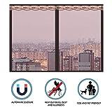 INOBXR Magnet Fliegengitter Fenster Easy, Fliegennetz Fenster Magnet, Insektenschutzgitter Türe, Zuverlässiger Insektenschutz Aus Fiberglas,Brown,110x135cm(43x53inch)