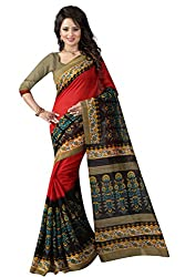 Glory Sarees Women's Bhagalpuri Art Silk Saree (gloryart02_red and black)