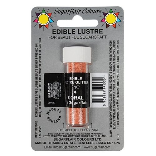 30 x Sugarflair CORAL Edible Lustre Glitter Dust for Sugarcraft Cake Decorating (Coral Glitter)