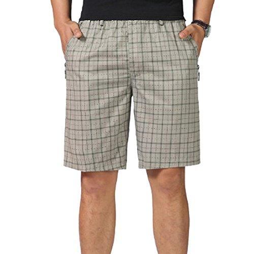 Ai.Moichien Herren Stretch Baumwolle Regular-Fit Chino Flat-Front Kurz Männlichen Casual Plaid Shorts (French Terry Lounge Pant)