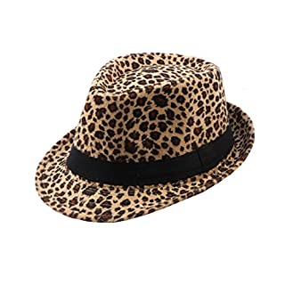ACVIP Unisex Leopard Print Fedora Trilby Gangster Hat Women Jazz Cap (Band-Light Coffee)