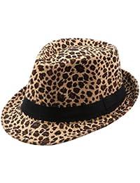 ACVIP Unisex Cappello da Jazz Stile Britannico Cappello Leopardo d338d5afefda