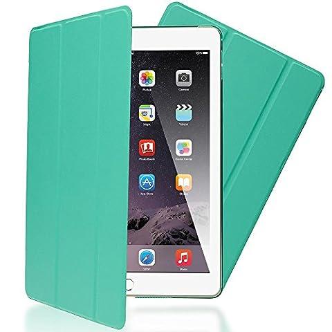 Apple iPad Air 2 Coque de Protection de NICA, Housse Tablette Etui Ultra-Fine avec Multi Angles Tir-Fold Stand PU Cuir Vegan, Slim-Fit Smart-Case Tablet Portable Cover Mince Bumper - Turquoise