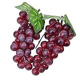 Venkaite 2pc Deko Kunststoff Weintrauben Wein Trauben Kunstobst Plastikobst künstliches Obst Gemüse Dekoration (Rote)