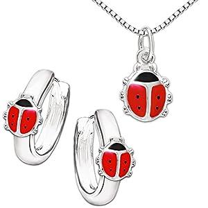 Clever Schmuck Set Silberner Mädchen Anhänger Mini Marienkäfer 8 mm mit Füßchen rot schwarz lackiert, passende Mini Kinder Creolen 10 mm & Kette Venezia 38 cm STERLING SILBER 925