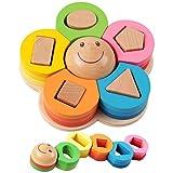 Holzsammlung Farben und Formen Sortierspiel - Holz Geometrischer Kreatives Stapler / Steckpuzzle ab 3 Jahre