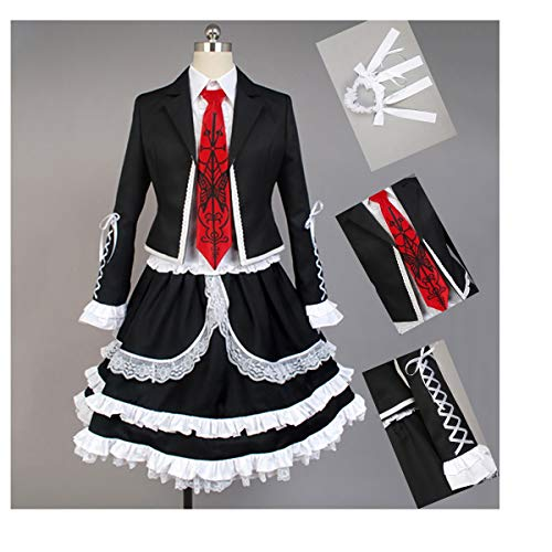 DuHLi Danganronpa Cosplay Celestia Ludenberg Kostüm Erwachsene Frauen Kleid Halloween Kostüm Party Outfit Anzug (Top + Shirt + Fliege + Gothic Kleid + Kopfbedeckung + Socken),M (Celestia Ludenberg Kostüm)