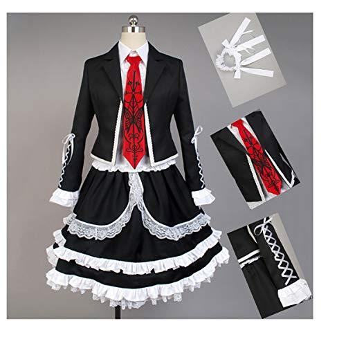DuHLi Danganronpa Cosplay Celestia Ludenberg Kostüm Erwachsene Frauen Kleid Halloween Kostüm Party Outfit Anzug (Top + Shirt + Fliege + Gothic Kleid + Kopfbedeckung + - Celestia Ludenberg Kostüm