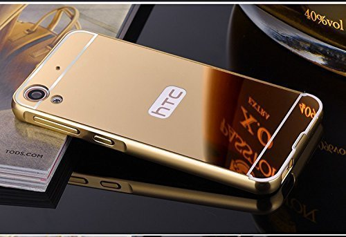 SDO™ Metal Bumper Frame Case with Acrylic Mirror Back Cover Case for HTC Desire 626 / 626G+ (Gold) + Micro USB Charging Cable
